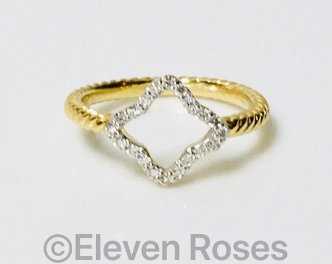David Yurman Solid 750 18k Gold Diamond Cable Collectibles Quatrefoil Ring Free US Shipping
