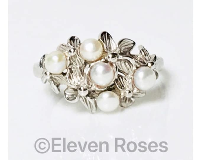 Na Hoku 585 14k Gold Multi Pearl Plumeria Flower Ring Free US Shipping