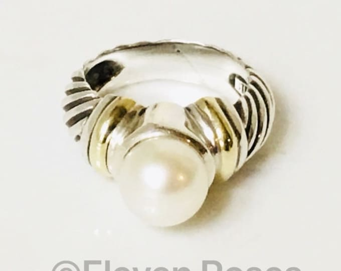 David Yurman Large Pearl Solitaire Ring 925 Sterling Silver & 585 14k Yellow Gold Free US Shipping