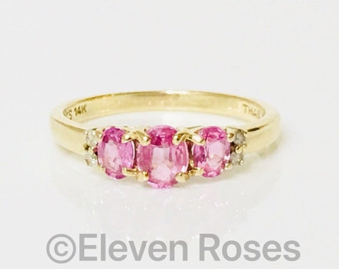 14k Gold Pink Sapphire & Diamond Anniversary Band Stacking Ring Free US Shipping