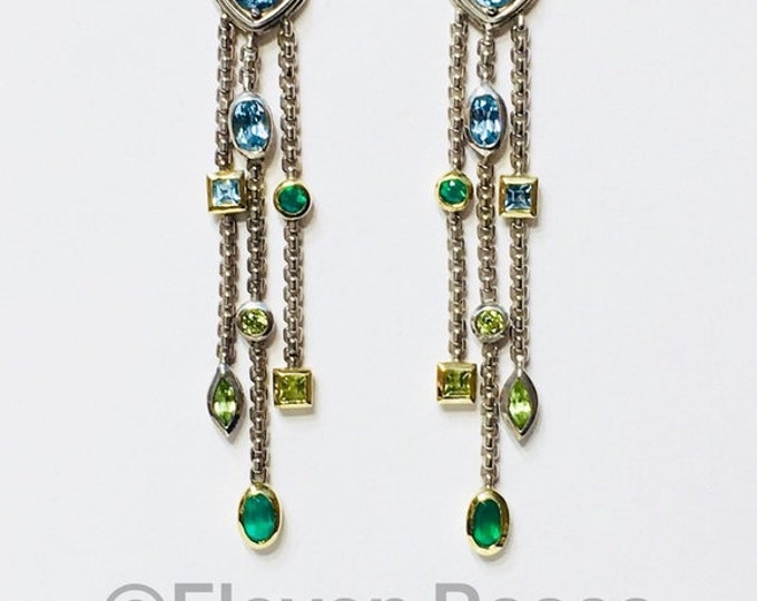 David Yurman Multi Gemstone Confetti Tassel Earrings 925 Sterling Silver & 750 18k Gold Free US Shipping