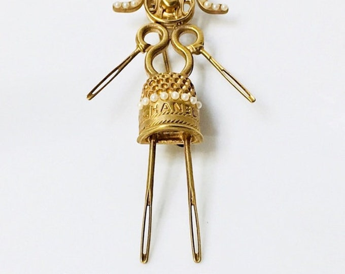 CHANEL Sewing Lady Brooch Free US Shipping