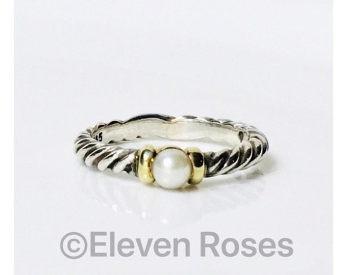 David Yurman Hampton Pearl Stacking Ring 925 Sterling Silver & 585 14k Yellow Gold Free US Shipping