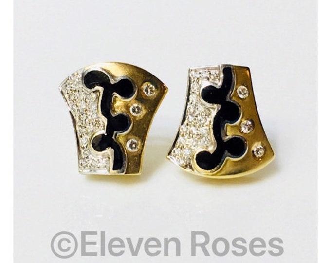 Designer 750 18k Gold Diamond Statement Earrings Free US Shipping
