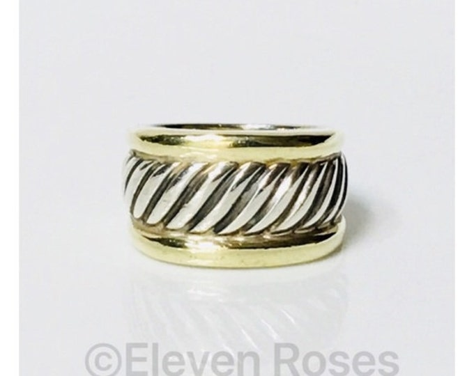 David Yurman Classic Cable Cigar Band Ring Two Tone DY 925 Sterling Silver 585 14k Gold Free US Shipping