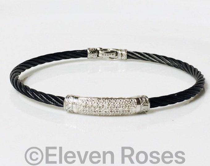 Charriol Noir Diamond Cable Bangle Bracelet 750 18k Gold Black Steel  Free US Shipping