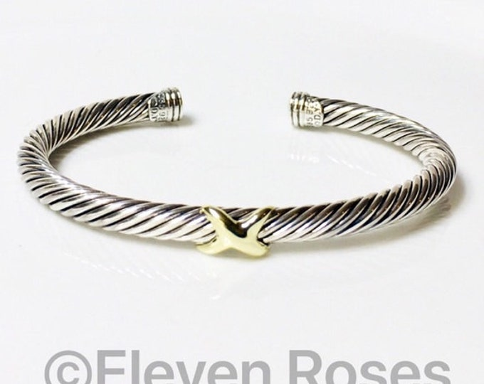 David Yurman Classic Cable X Cuff Bracelet 925 Sterling Silver & 585 14k Gold Free US Shipping