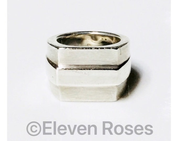 Gucci Extra Large Wide Band Unisex Statement Ring 925 Sterling Silver Free US Shipping