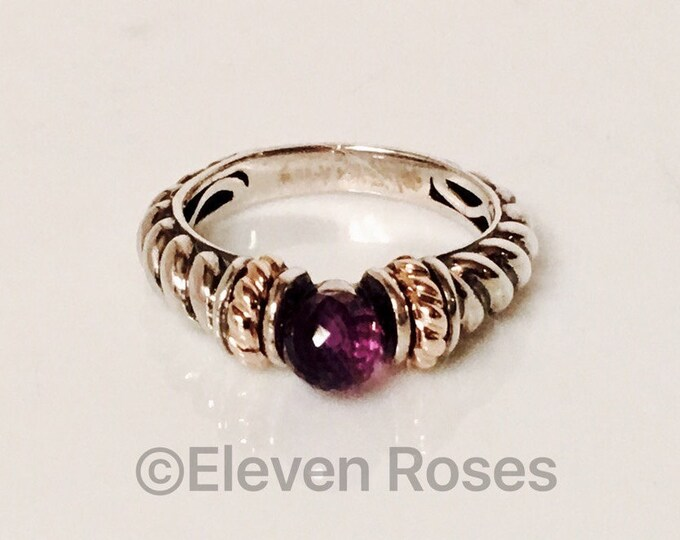 Designer Two Tone 925 Sterling Silver 14k Yellow Gold Amethyst Ball Rope Band Ring Free US Shipping