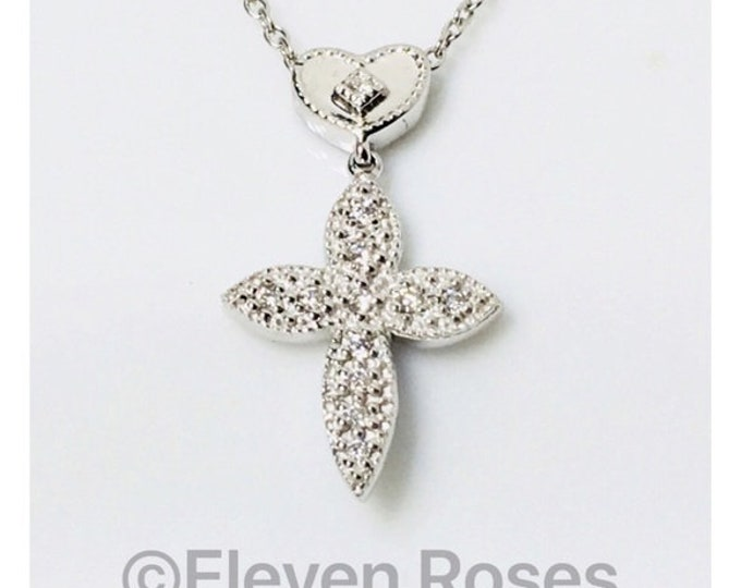 Charriol 750 18k Gold Flamme Blanche Diamond Heart Cross Necklace Free US Shipping
