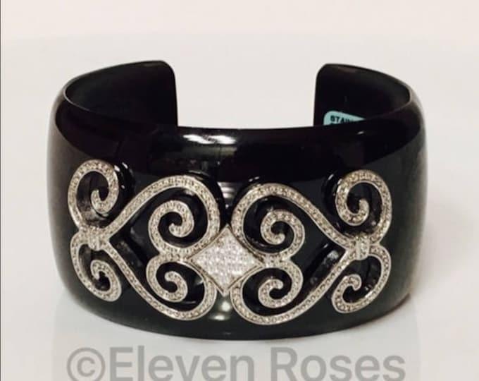 Designer Black Stainless Steel Wide Cuff Bracelet Silver Scroll Dot Design Detail CZ Stones Free US Shipping