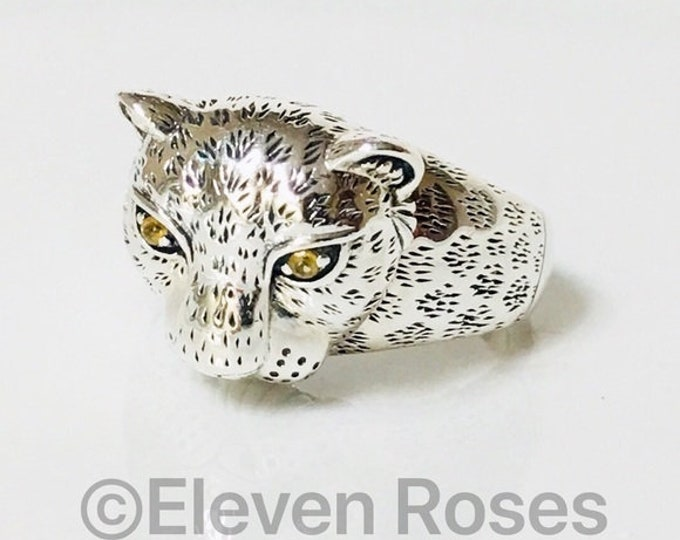 John Hardy Africa Leopard Ring Citrine Eyes 925 Sterling Silver Free US Shipping