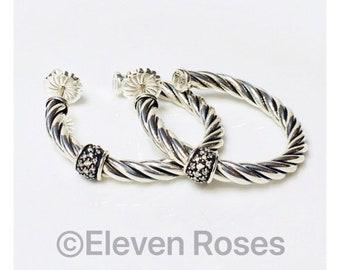 David Yurman Cable Classics Diamond Hoop Earrings 925 Sterling Silver Free US Shipping