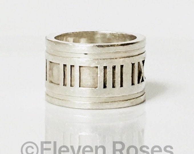 Tiffany & Co. 1995 Wide Atlas Band Ring 925 Sterling Silver Free US Shipping