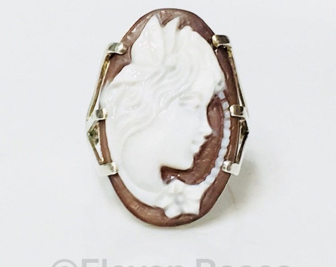 Large Cameo Ring Italy 925 Sterling Silver Free US Shipping