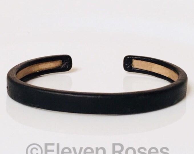 Unisex Maison Martin Margiela Engraved Black Leather Over Gold Cuff Bracelet Free US Shipping