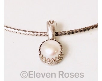 Vintage Robin Rotenier Pearl Pendant 925 Sterling Silver Free US Shipping