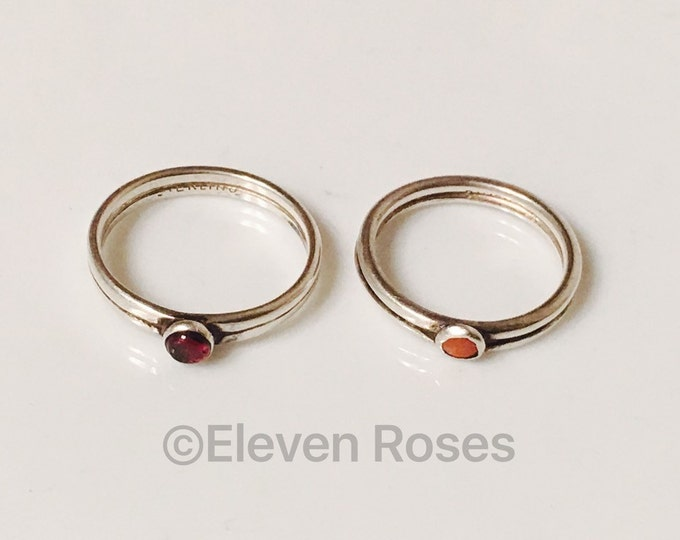 Vintage Pair of Sterling Silver Stack Style Enamel Cabochon Rings Lot of 2 Free US Shipping