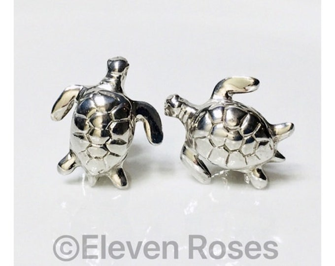 Robin Rotenier Double Sided Sea Turtle Cufflinks 925 Sterling Silver Cuff Links Free US Shipping