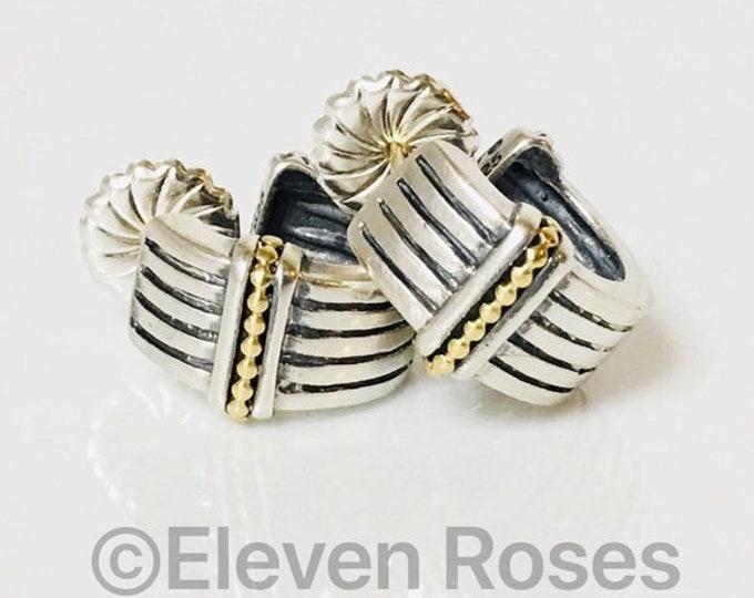 Lagos Caviar Huggie Hoop Earrings 925 Sterling Silver 750 18k Gold Free US Shipping