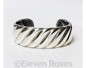David Yurman Sculpted Cable Cuff Bracelet DY 925 Sterling Silver Free US Shipping