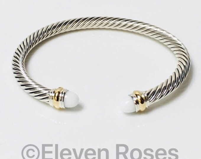 David Yurman Classic Cable White Agate Cuff Bracelet DY 925 Sterling Silver & 585 14k Gold Free US Shipping