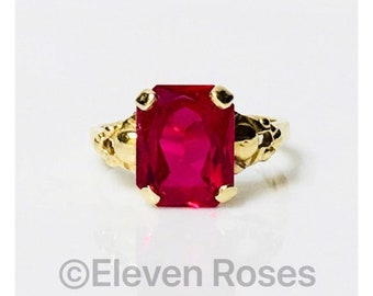 Vintage Art Deco 585 14k Gold Ruby Solitaire Engagement Ring Free US Shipping
