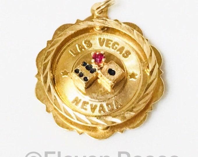 Vintage 14k Gold Las Vegas Gambling Dice Charm Pendant Free US Shipping