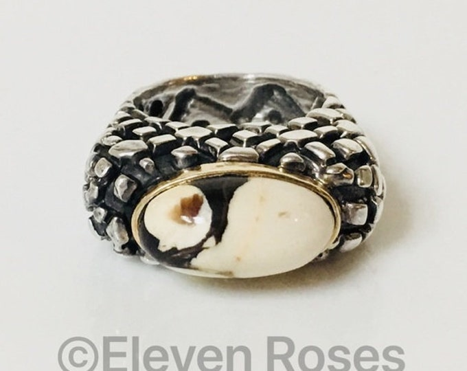 Dian Malouf 925 Sterling Silver & 585 14k Gold Peanut Wood Statement Ring Free US Shipping