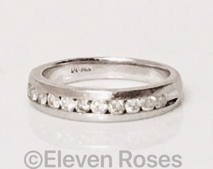 Ladies 585 14k White Gold Diamond Anniversary Ring Wedding Band Free US Shipping