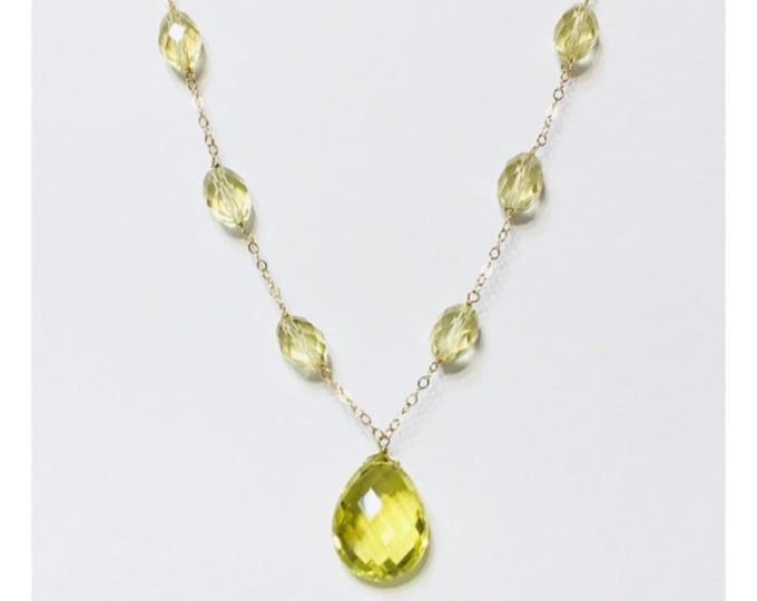 Solid 585 14k Gold Gemstone Briolette Drop Necklace Free US Shipping