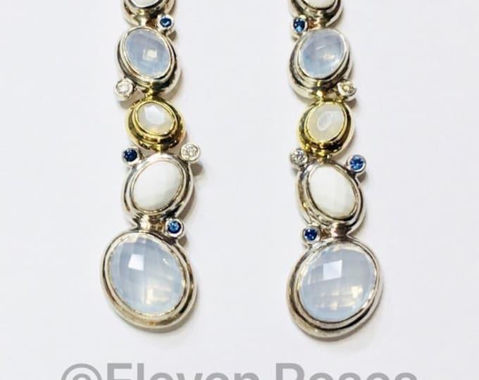 David Yurman Moonstone Oval Mosaic Drop Earrings 925 Sterling Silver & 750 18k Gold Free US Shipping