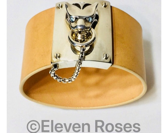 John Hardy Legends Macan Tiger Head Leather Bracelet Blue Topaz 925 Sterling Silver Free US Shipping