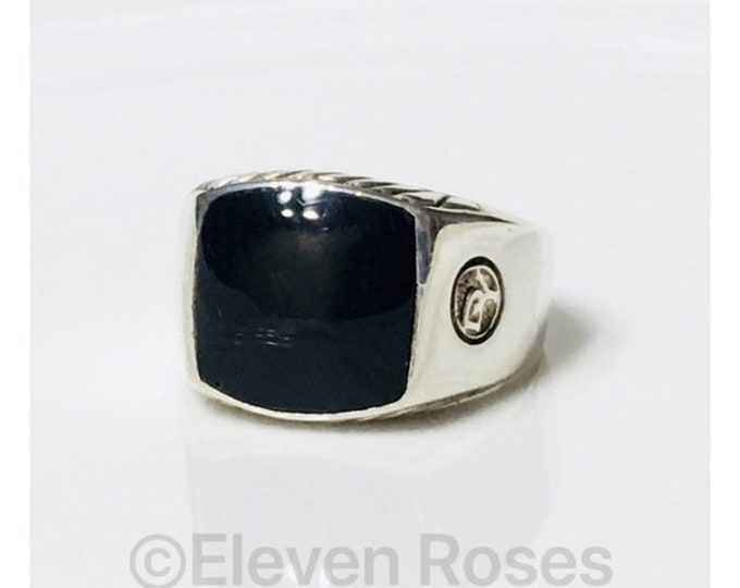 Mens David Yurman Black Onyx Signet Ring DY 925 Sterling Silver Free US Shipping