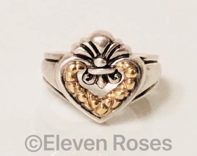 Nancy & David  Fleur De Lis Heart Ring 925 Sterling Silver 585 14k Gold Free US Shipping