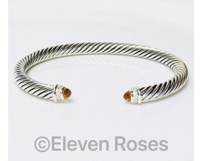 David Yurman Cable Classics Citrine & Diamond Cuff Bracelet DY 925 Sterling Silver Free US Shipping