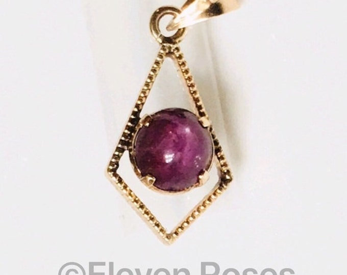 Victorian Antique 585 14k Gold Star Ruby Pendant Free US Shipping