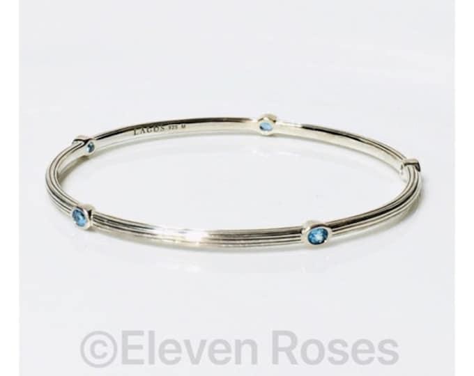 Lagos Caviar Blue Topaz Station Bangle Bracelet 925 Sterling Silver Free US Shipping