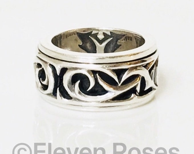 Men's Stephen Webster Carved Thorn Rotating Spinner Band Ring 925 Sterling Silver Free Shipping