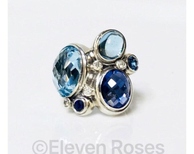 David Yurman Large Multi Gemstone Mosaic Cocktail Ring 925 Sterling Silver Free US Shipping