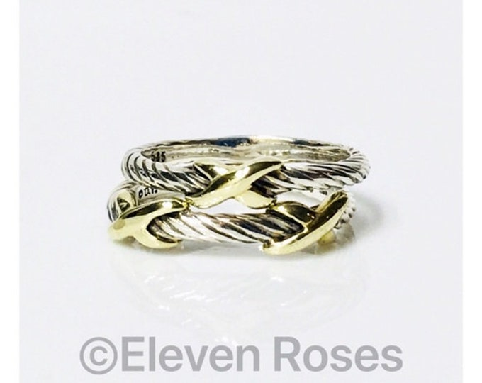 Set Of 2 David Yurman Classic Cable X Station Crossover Stack Rings 925 Sterling Silver & 585 14k Gold Free US Shipping