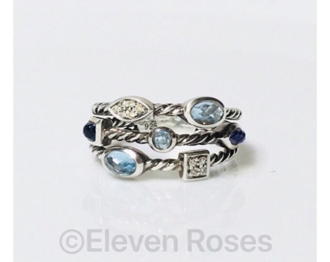 David Yurman Multi Stone Diamond Three Row Cable Confetti Ring DY 925 Sterling Silver Free US Shipping