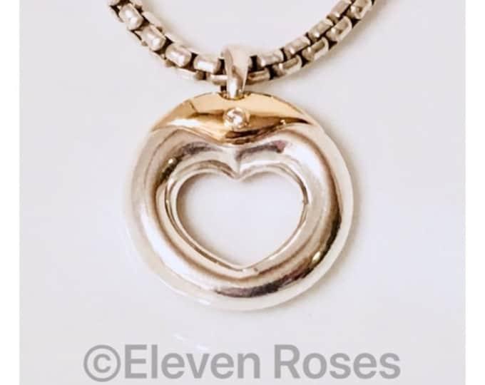 Large Movado Heart Diamond Circle Pendant 925 Sterling Silver 750 18k Gold Free US Shipping
