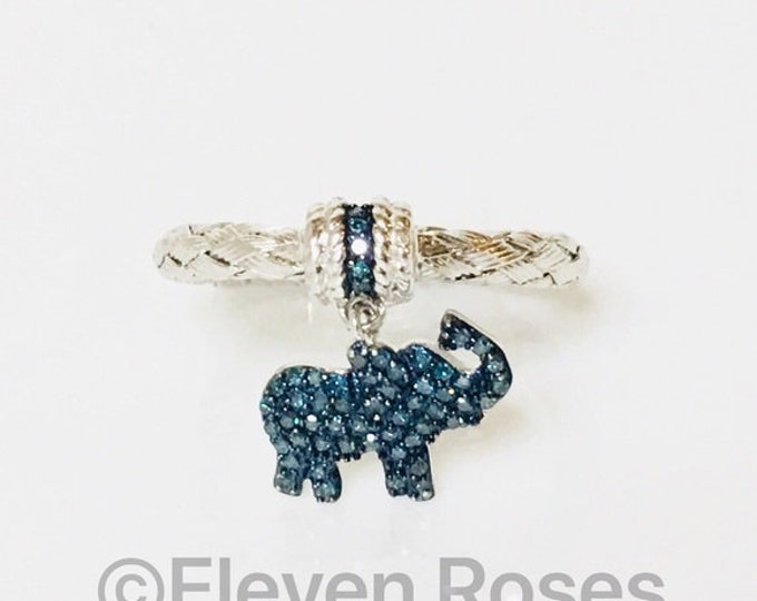 Affinity Blue Diamond Elephant Dangle Charm Stack Ring Free US Shipping