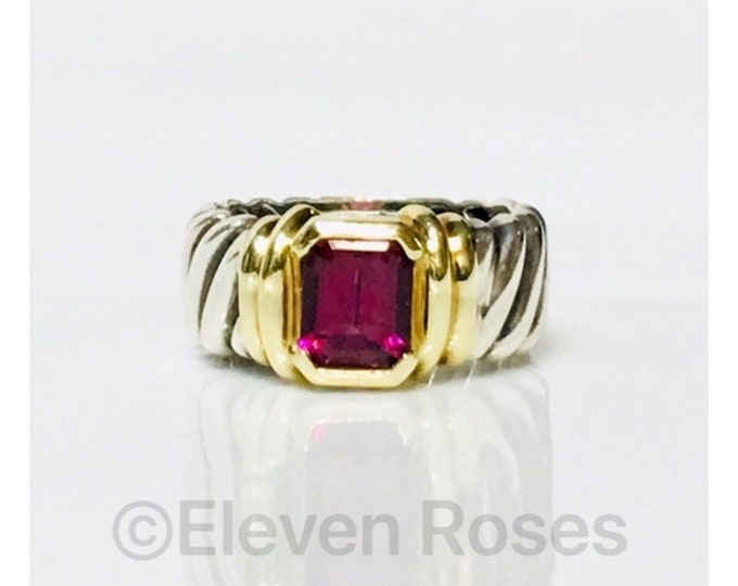 David Yurman Pink Tourmaline Wide Cable Band Ring DY 925 Sterling Silver 585 14k Gold Free US Shipping