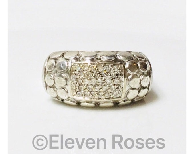 John Hardy Square Dot Pave Diamond Band Ring 925 Sterling Silver 750 18k Yellow Gold Free US Shipping