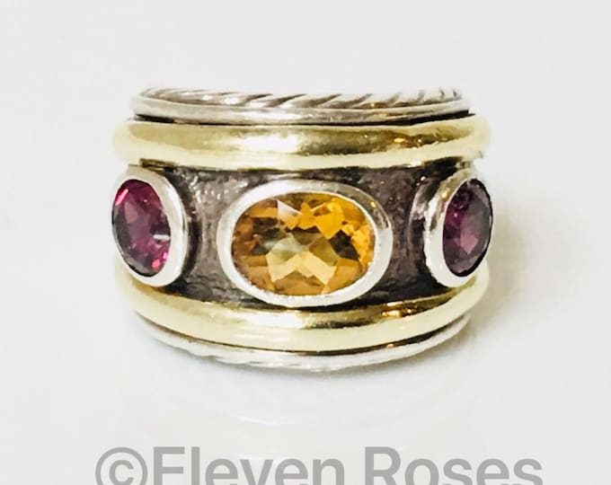 David Yurman Garnet & Citrine Three Stone Renaissance Ring 585 14k Gold DY 925 Sterling Silver Free US Shipping
