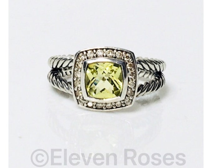 David Yurman Lemon Citrine Diamond Petite Albion Ring DY 925 Sterling Silver Free US Shipping