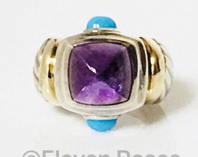 Vintage David Yurman Amethyst & Turquoise Renaissance Ring 750 18k Gold DY 925 Sterling Silver Free US Shipping