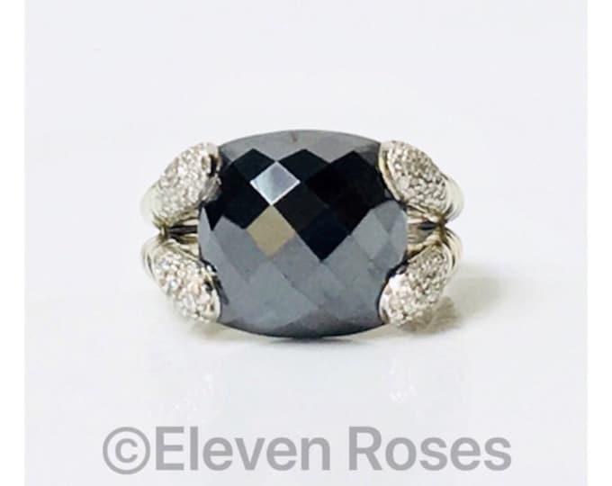 David Yurman Willow Hematine Diamond Cocktail Ring 925 Sterling Silver Free US Shipping